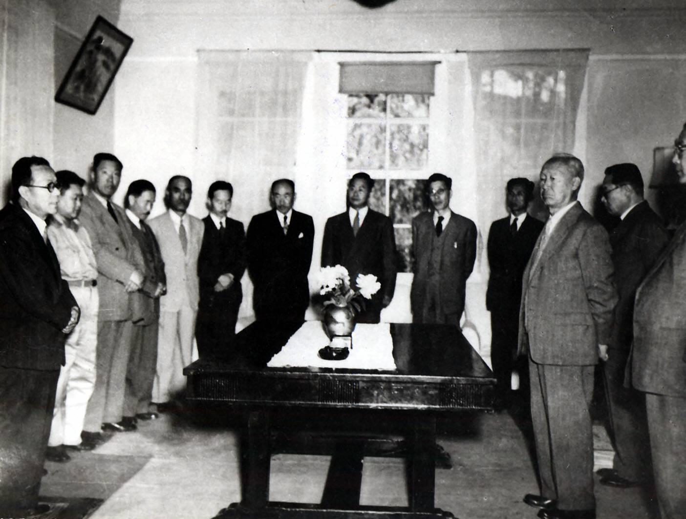 인촌, 국무회의에서의 부통령 취임 인사